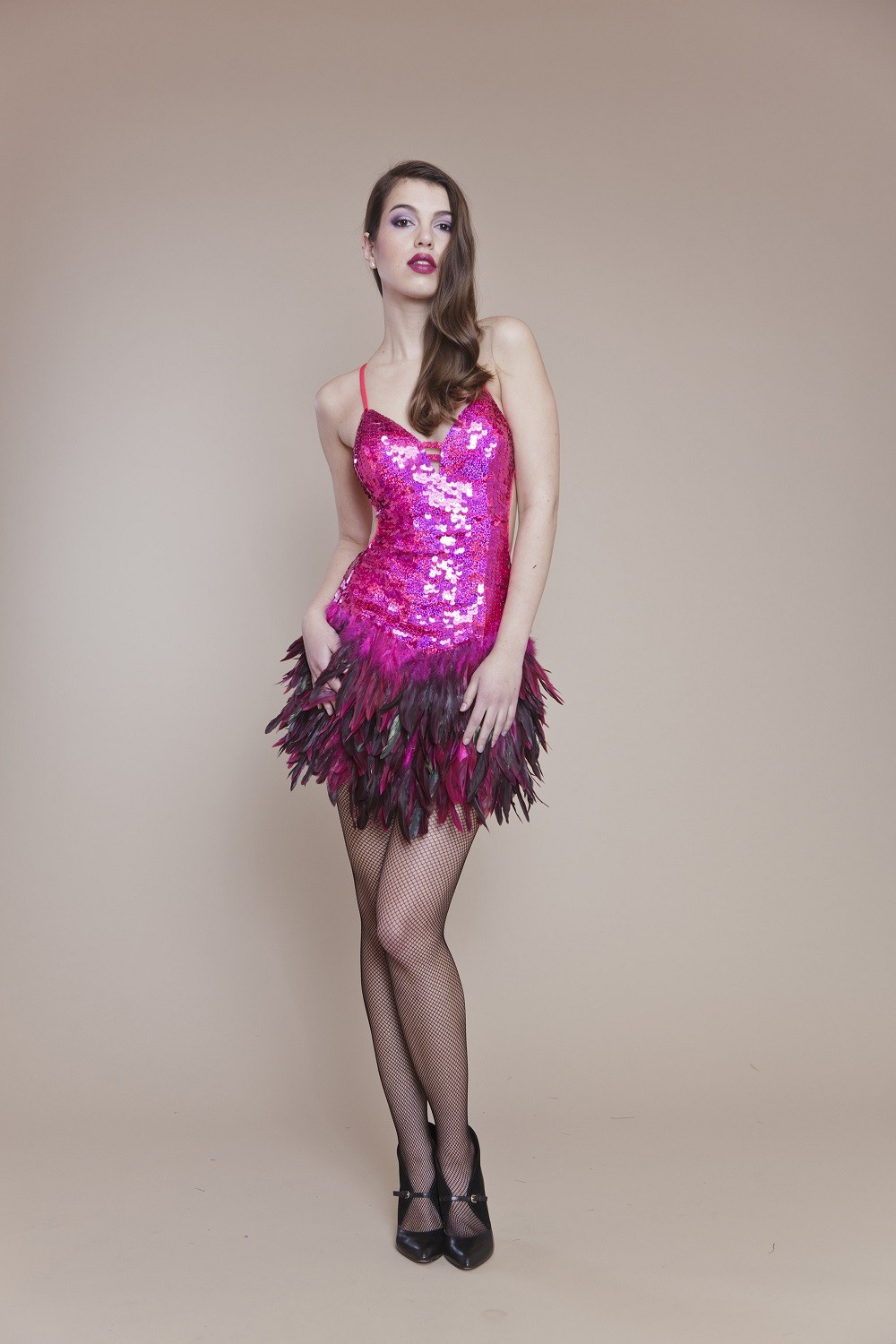 Colored sequins and feathered dress