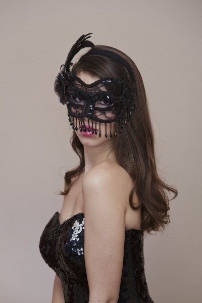 Lace and beads venetian mask